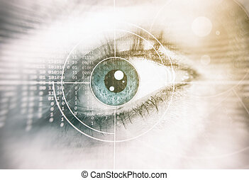 Human Eye. Security concept - Close up of human Eye....