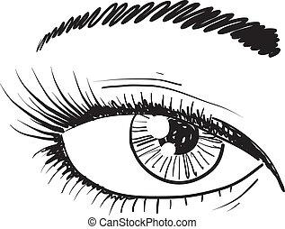 Human eye sketch - Doodle style human eye closeup sketch in...