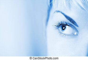 Human eye toned in blue