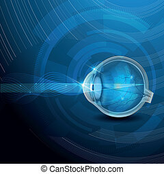 Human eye vision, abstract blue illustration