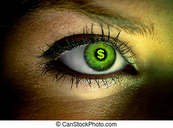 Human eye with a green dollar sign reflection