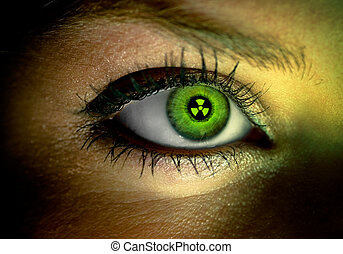Human eye with a green nuclear sign reflection
