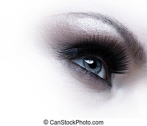 Human eye with eyelashes over white background