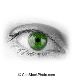 Human eye with green pupil