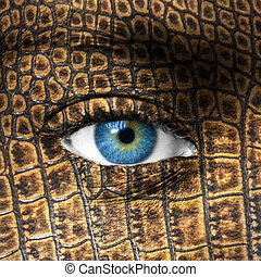 Human eye with lizard skin texture - Mutation concept