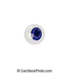 Human eyeball colorful sign or symbol, cartoon vector illustration isolated.