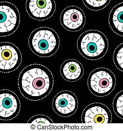 Human eyeball hand drawn stitch patch pattern