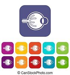 Human eyeball icons set