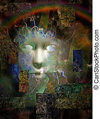 Human Face Abstract Dimensional Painting