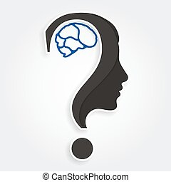 Human face and brain with question mark. Education and...