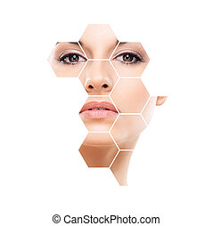 Human face in honeycomb. Young and healthy woman in plastic...