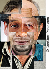 Human face made of several different people, artistic ...