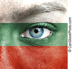 Human face painted with flag of Bulgaria
