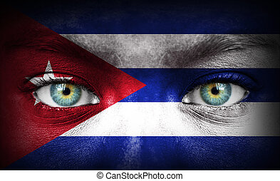 Human face painted with flag of Cuba