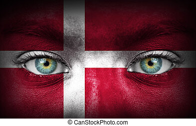 Human face painted with flag of Denmark