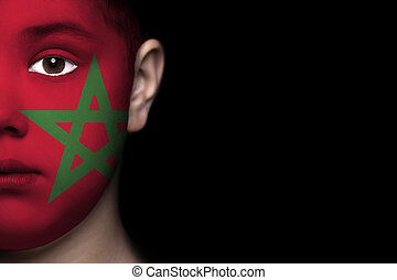 Human face painted with flag of Mor