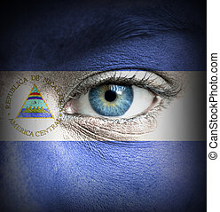 Human face painted with flag of Nicaragua