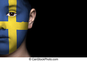 Human face painted with flag of Swe