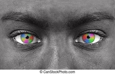 Human face with colorful eye extreme close-up