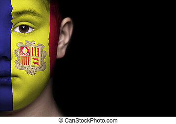 Human face with flag of Andora