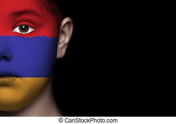 Human face with flag of Armenia