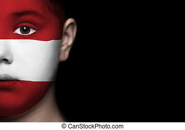 Human face with flag of Austria