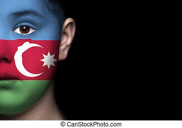 Human face with flag of Azerbaijan