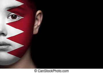 Human face with flag of Bahrain