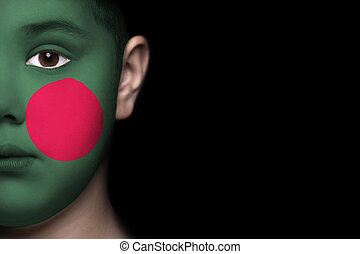 Human face with flag of Bangladesh