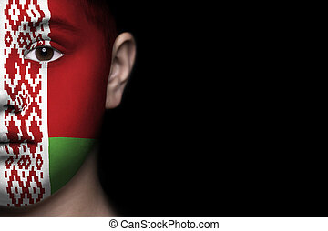 Human face with flag of Belarus