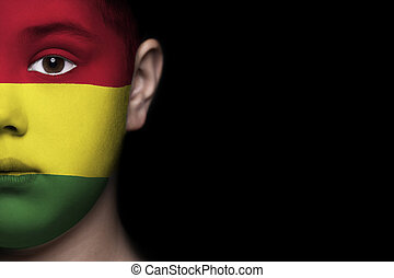 Human face with flag of Bolivia