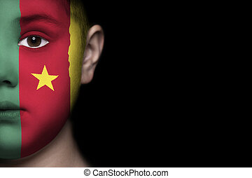 Human face with flag of cameroon