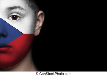 Human face with flag of Czech