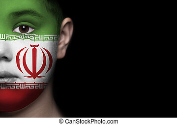 Human face with flag of Iran
