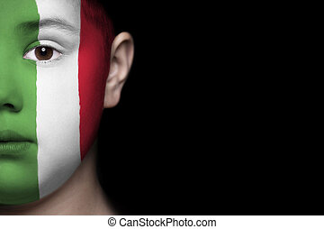 Human face with flag of Italy