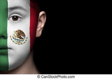 Human face with flag of Mexico