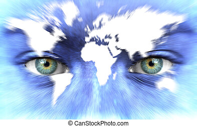 Human face with map of world - Speed of life concept