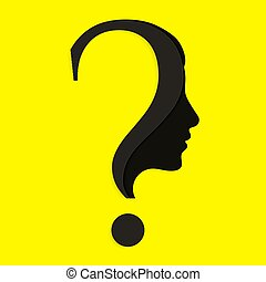 Human face with question mark. Education and innovation...