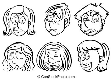 Human faces with facial expressions