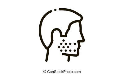 Human Facial Bristle Icon Animation. black Human Facial Bristle animated icon on white background