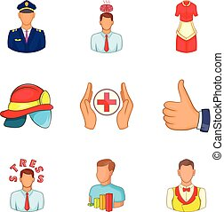 Human faculty icons set, cartoon style - Human faculty icons...