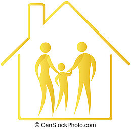 human family shown within home outline
