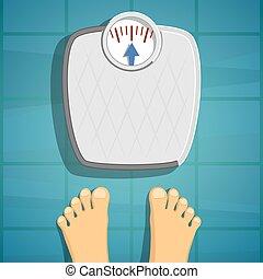 Human feet beside weighing scales