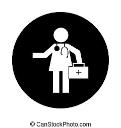 human figure doctor with kit health pictogram block style