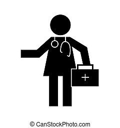 human figure doctor with kit health pictogram silhouette style
