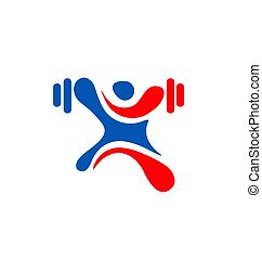 human figure Fitness logo template, Gym club logotype, Sport...