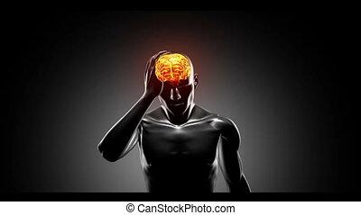 Human figure getting headache with