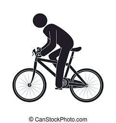 human figure riding bike vector illustration design
