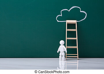 Human Figure Standing Near Ladder