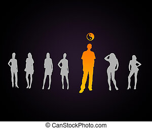 Human figure with a dao symbol